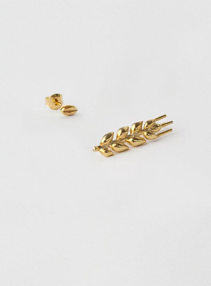 Асимметричные серьги в позолоте Колосок короткий KVL_КРР03_A, фото 1 - в интернет магазине KAPSULA