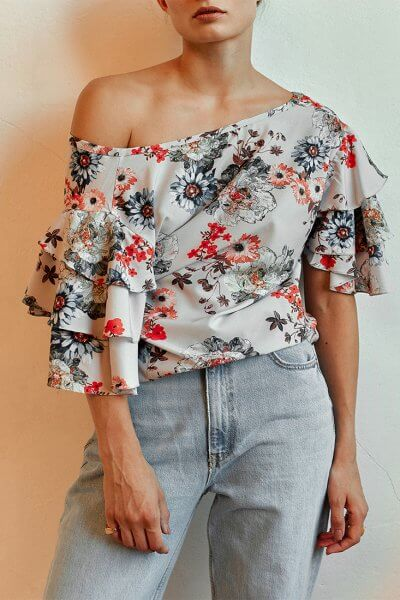 Блуза с рукавами-колоколами AD_030720, фото 3 - в интеренет магазине KAPSULA