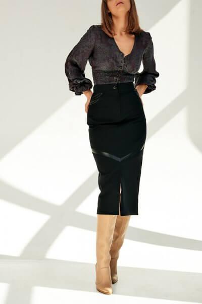 Джинсовая юбка с вставками из кожи KS_FW-23-05, фото 5 - в интеренет магазине KAPSULA