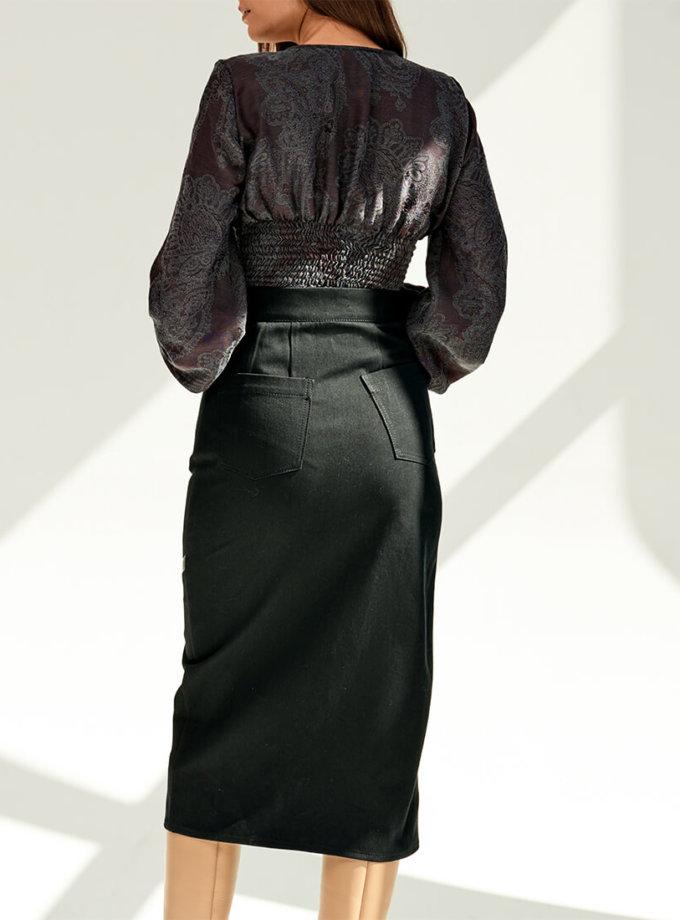 Джинсовая юбка с вставками из кожи KS_FW-23-05, фото 1 - в интеренет магазине KAPSULA