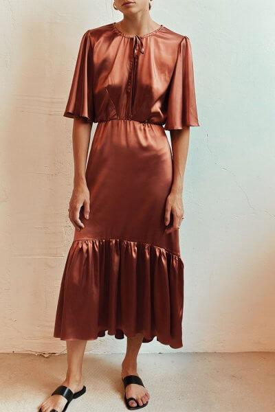 Шелковое платье с рюшами AD_100720, фото 4 - в интеренет магазине KAPSULA
