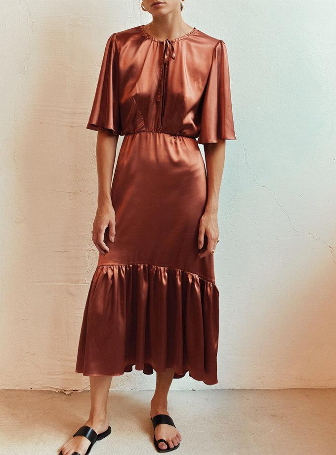 Шелковое платье с рюшами AD_100720, фото 1 - в интеренет магазине KAPSULA