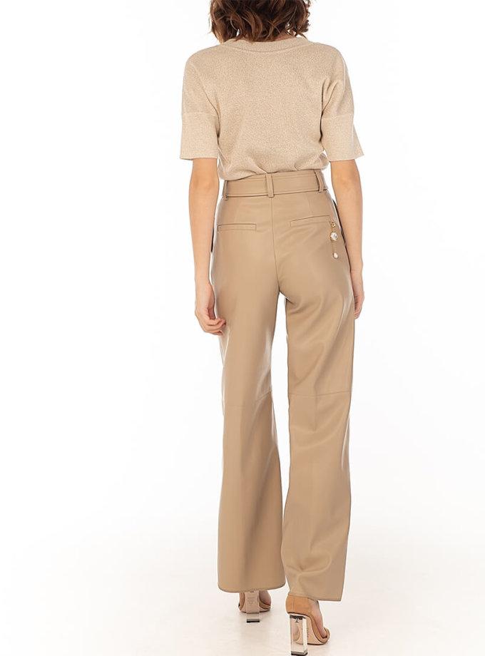 Широкие брюки из эко-кожи Beige WNDR_fw2021_wtbez_08, фото 1 - в интернет магазине KAPSULA