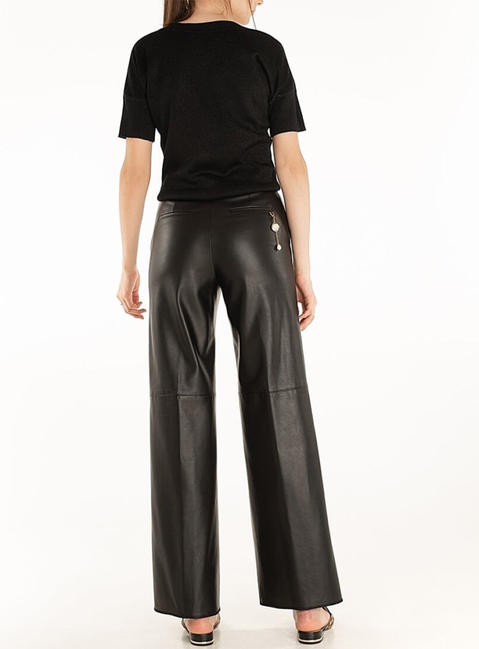Широкие брюки из эко-кожи Black WNDR_fw2021_wtblck_08, фото 1 - в интернет магазине KAPSULA