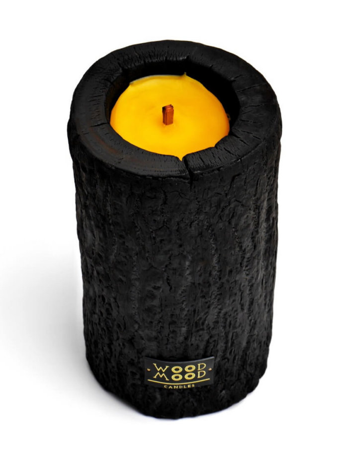 Свеча в дереве обожжённая с ароматом мяты  L WM_volcano_L, фото 1 - в интеренет магазине KAPSULA