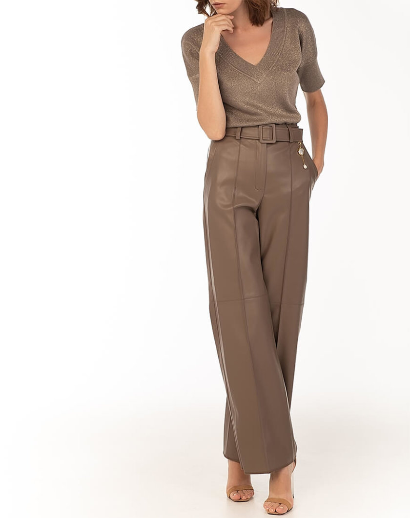 Широкие брюки из эко-кожи Сappuccino WNDR_fw2021_wtcap_08, фото 1 - в интернет магазине KAPSULA