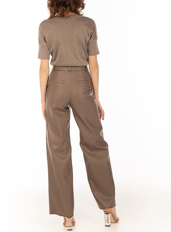 Широкие брюки из эко-кожи Сappuccino WNDR_fw2021_wtcap_08, фото 1 - в интеренет магазине KAPSULA