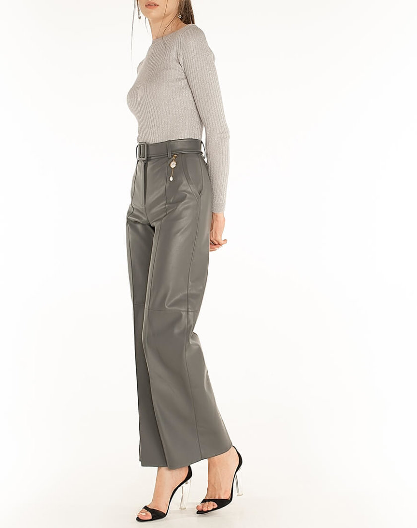 Широкие брюки из эко-кожи Gray WNDR_fw2021_wtgr_08, фото 1 - в интернет магазине KAPSULA