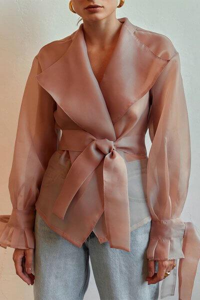 Полупрозрачная блуза на запах AD_040720, фото 6 - в интеренет магазине KAPSULA
