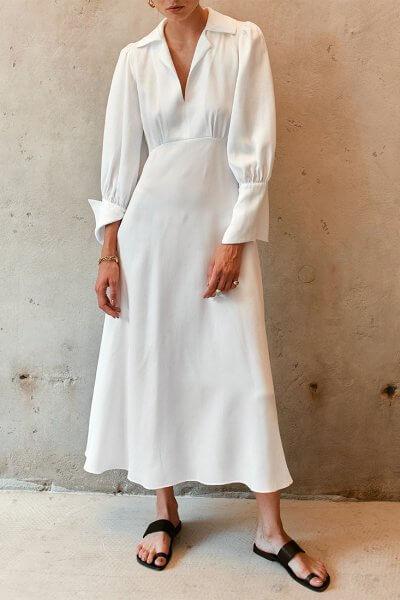 Платье миди с объемными рукавами AD_110720, фото 7 - в интеренет магазине KAPSULA