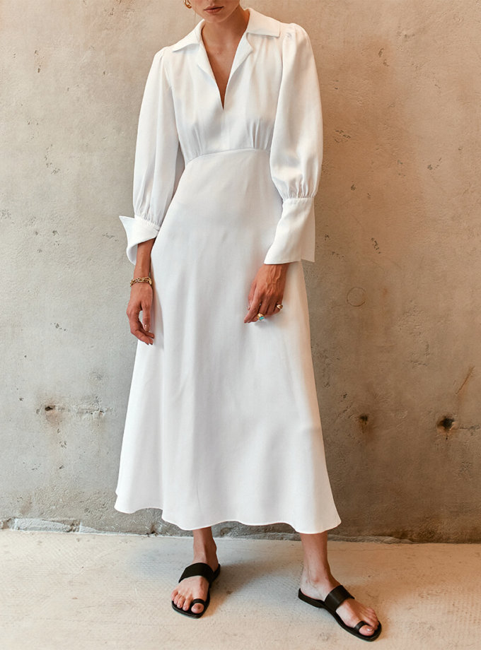 Платье миди с объемными рукавами AD_110720, фото 1 - в интернет магазине KAPSULA