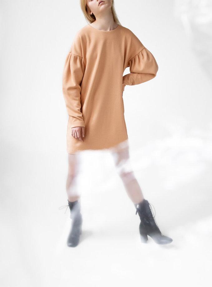 Платье Easy с объемными рукавами SNDR_FWE6_beige, фото 1 - в интеренет магазине KAPSULA