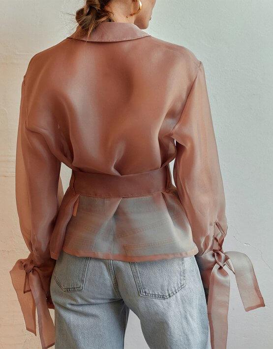 Полупрозрачная блуза на запах AD_040720, фото 7 - в интеренет магазине KAPSULA