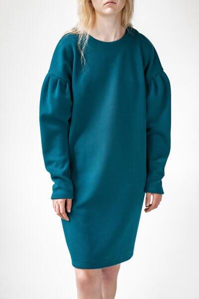 Платье Easy с объемными рукавами SNDR_FWE6_blue, фото 1 - в интеренет магазине KAPSULA