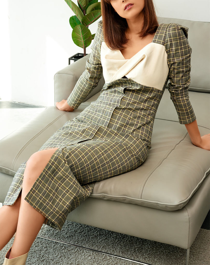 Платье-футляр с контрастным лифом KS_FW-23-01, фото 1 - в интернет магазине KAPSULA