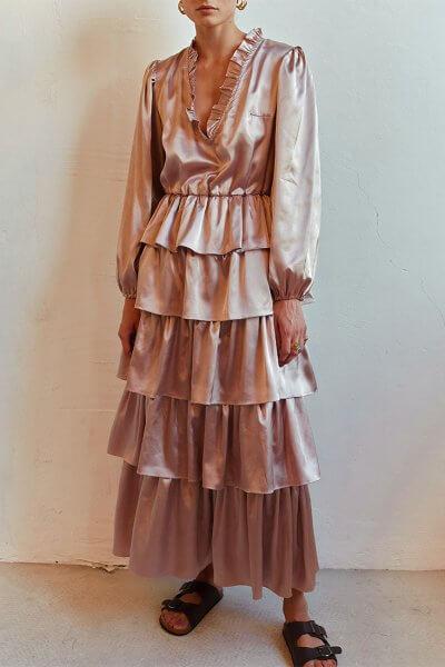 Шелковое платье с воланами AD_140720, фото 1 - в интеренет магазине KAPSULA