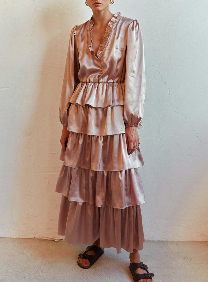 Шелковое платье с воланами AD_140720, фото 1 - в интернет магазине KAPSULA