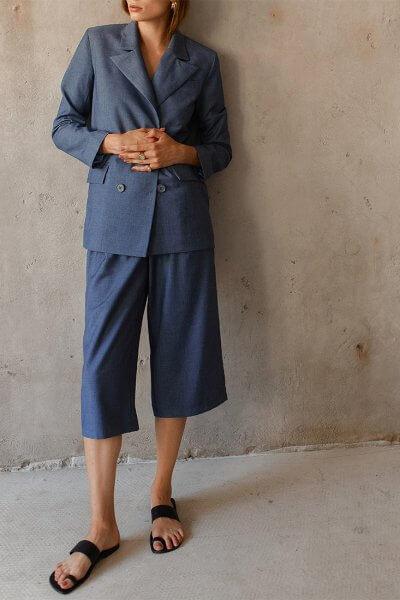 Укороченные брюки на высокой посадке AD_180720, фото 5 - в интеренет магазине KAPSULA
