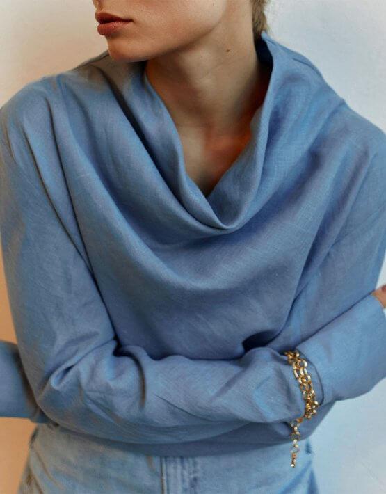 Льняная блуза AD_010720, фото 6 - в интеренет магазине KAPSULA