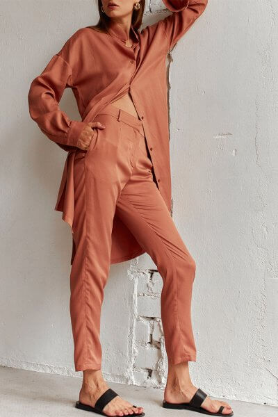 Узкие брюки из тенсела AD_220720, фото 4 - в интеренет магазине KAPSULA