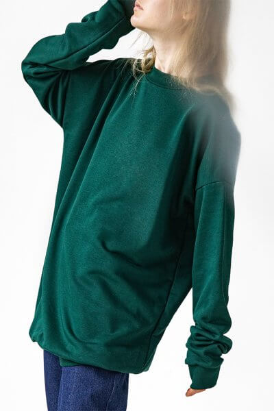 Свитшот оверсайз Easy из хлопка SNDR_FWE11_green, фото 2 - в интеренет магазине KAPSULA