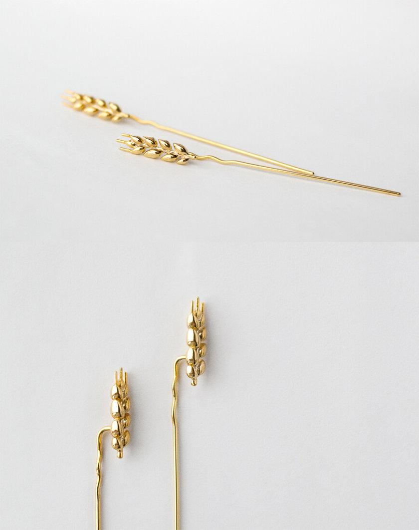 Серьги в позолоте Колоски длинные KVL_КРР02, фото 1 - в интернет магазине KAPSULA