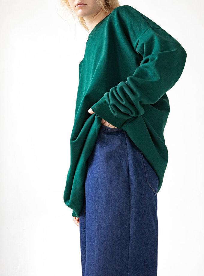 Свитшот оверсайз Easy из хлопка SNDR_FWE11_green, фото 1 - в интернет магазине KAPSULA