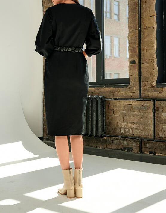 Платье из денима с поясом KS_FW-23-17, фото 3 - в интеренет магазине KAPSULA