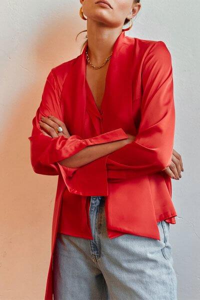 Шелковая блуза с галстуком AD_020720, фото 1 - в интеренет магазине KAPSULA