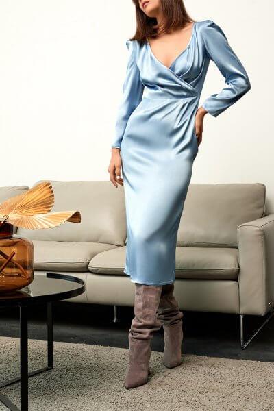 Платье с лифом на запах KS_FW-23-25, фото 3 - в интеренет магазине KAPSULA