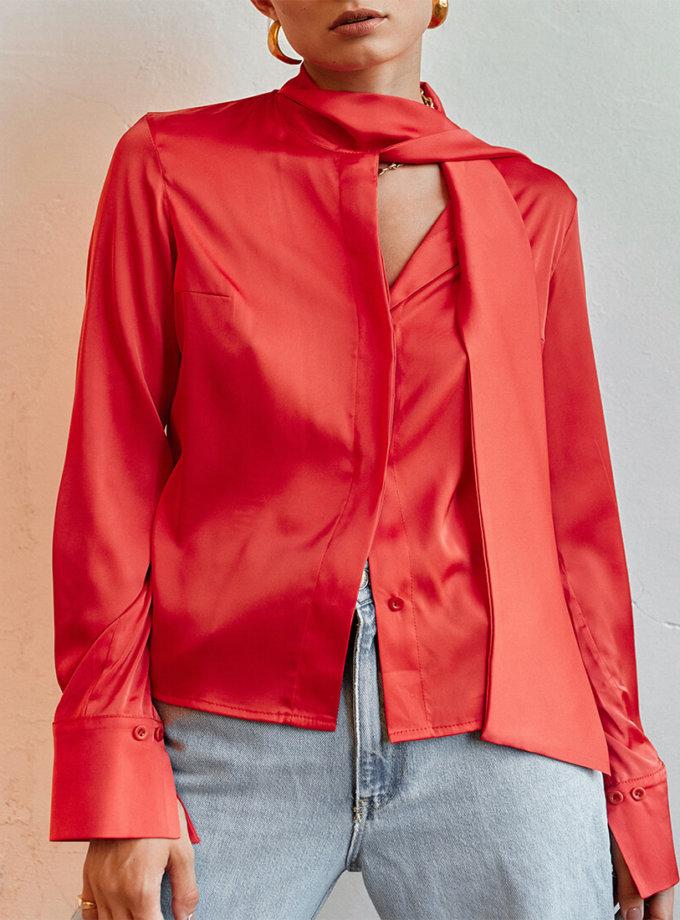 Шелковая блуза с галстуком AD_020720, фото 1 - в интернет магазине KAPSULA