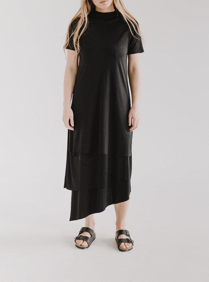 Асимметричное платье LUNG с короткими рукавами FRM_XIM_06E_B, фото 1 - в интеренет магазине KAPSULA