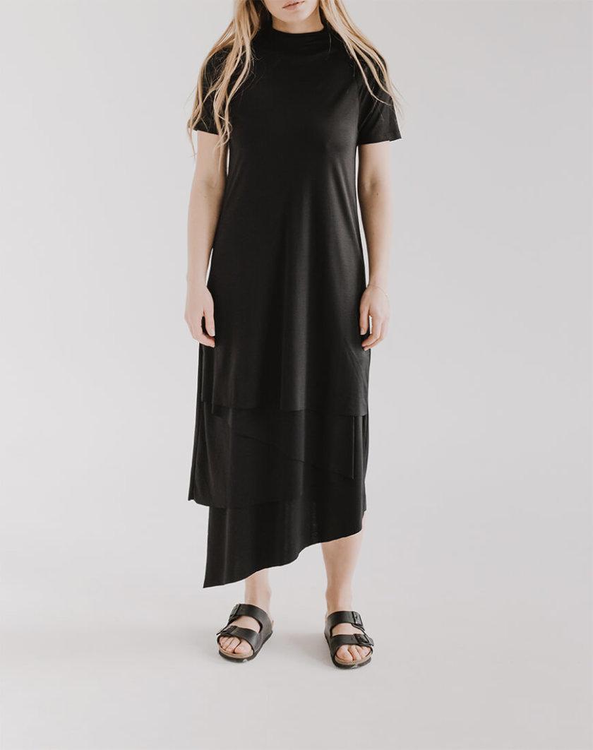 Асимметричное платье LUNG с короткими рукавами FRM_XIM_06E_B, фото 1 - в интернет магазине KAPSULA