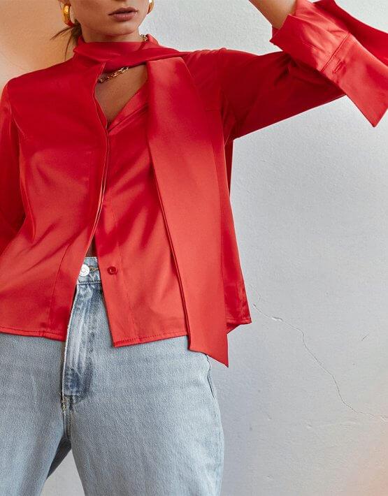 Шелковая блуза с галстуком AD_020720, фото 8 - в интеренет магазине KAPSULA