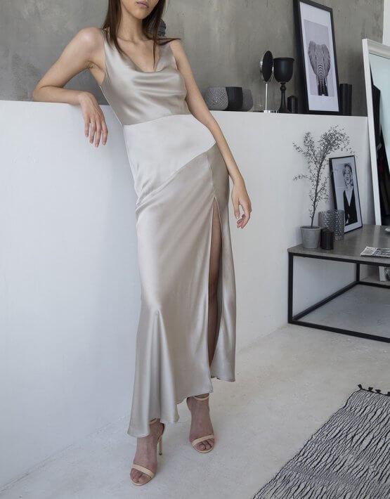 Платье с разрезом на шелковом подкладе BEAVR_BA_SS20_72, фото 5 - в интеренет магазине KAPSULA