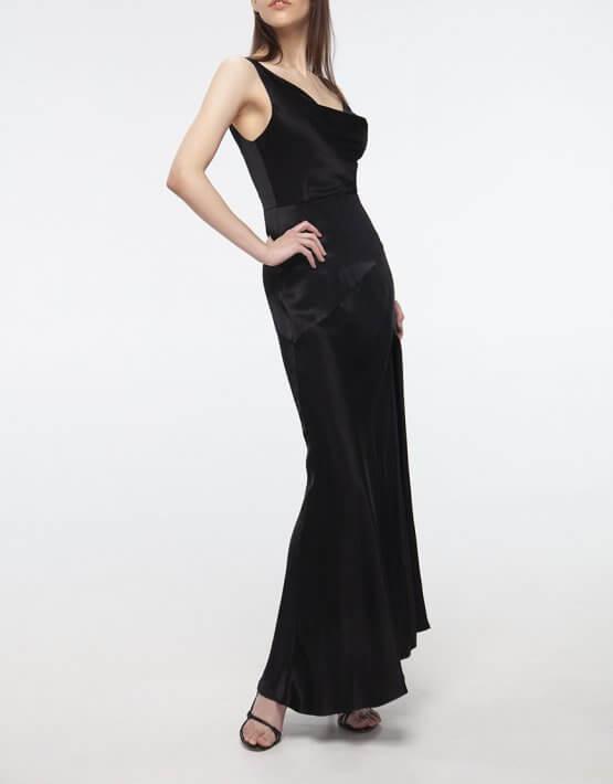 Платье с разрезом на шелковом подкладе BEAVR_BA_SS20_74, фото 3 - в интеренет магазине KAPSULA