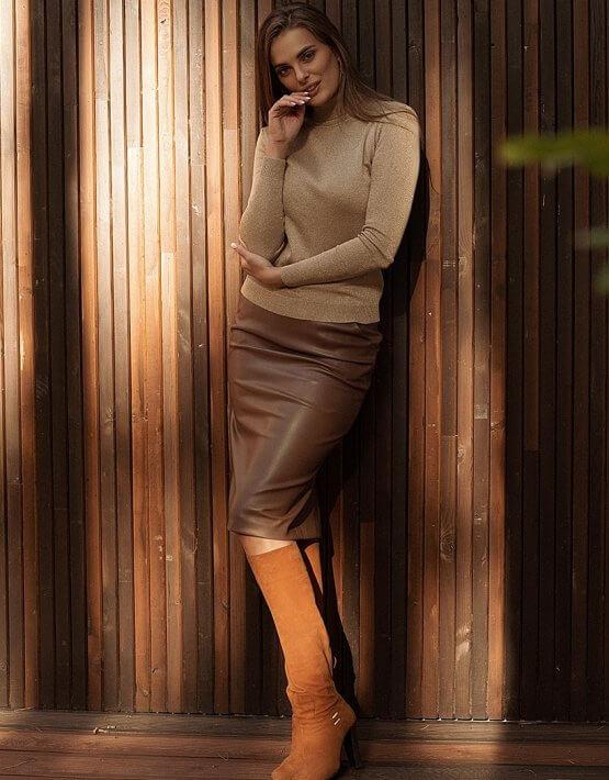 Юбка из эко-кожи Caramel WNDR_fw2021_scar_07, фото 4 - в интеренет магазине KAPSULA