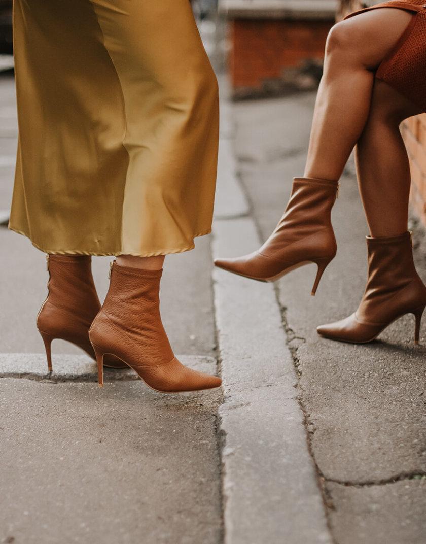 Кожаные ботинки на каблуке NZR_Rainbow-caramel, фото 1 - в интернет магазине KAPSULA