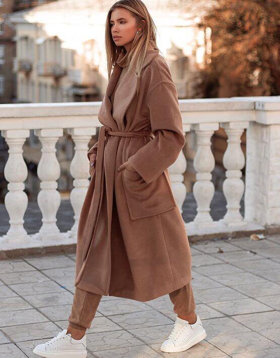 Шерстяное пальто на запах AY_3029, фото 6 - в интеренет магазине KAPSULA