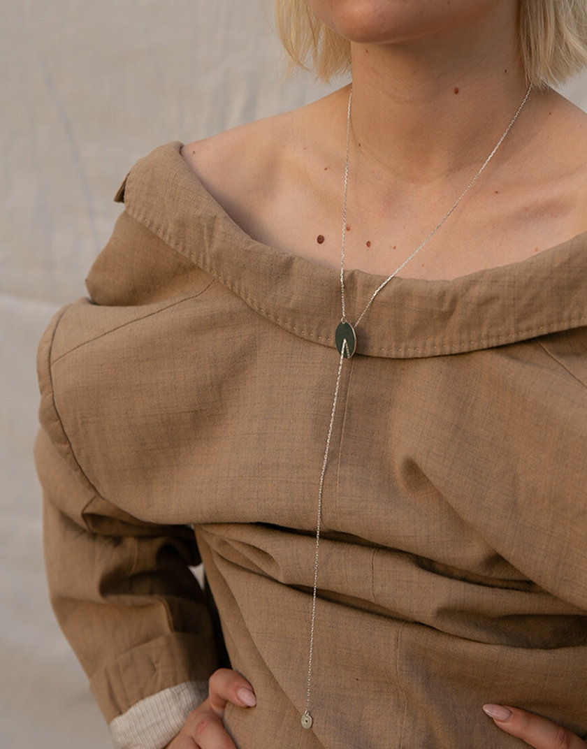 Колье-галстук из серебра LGV_dot003, фото 1 - в интеренет магазине KAPSULA