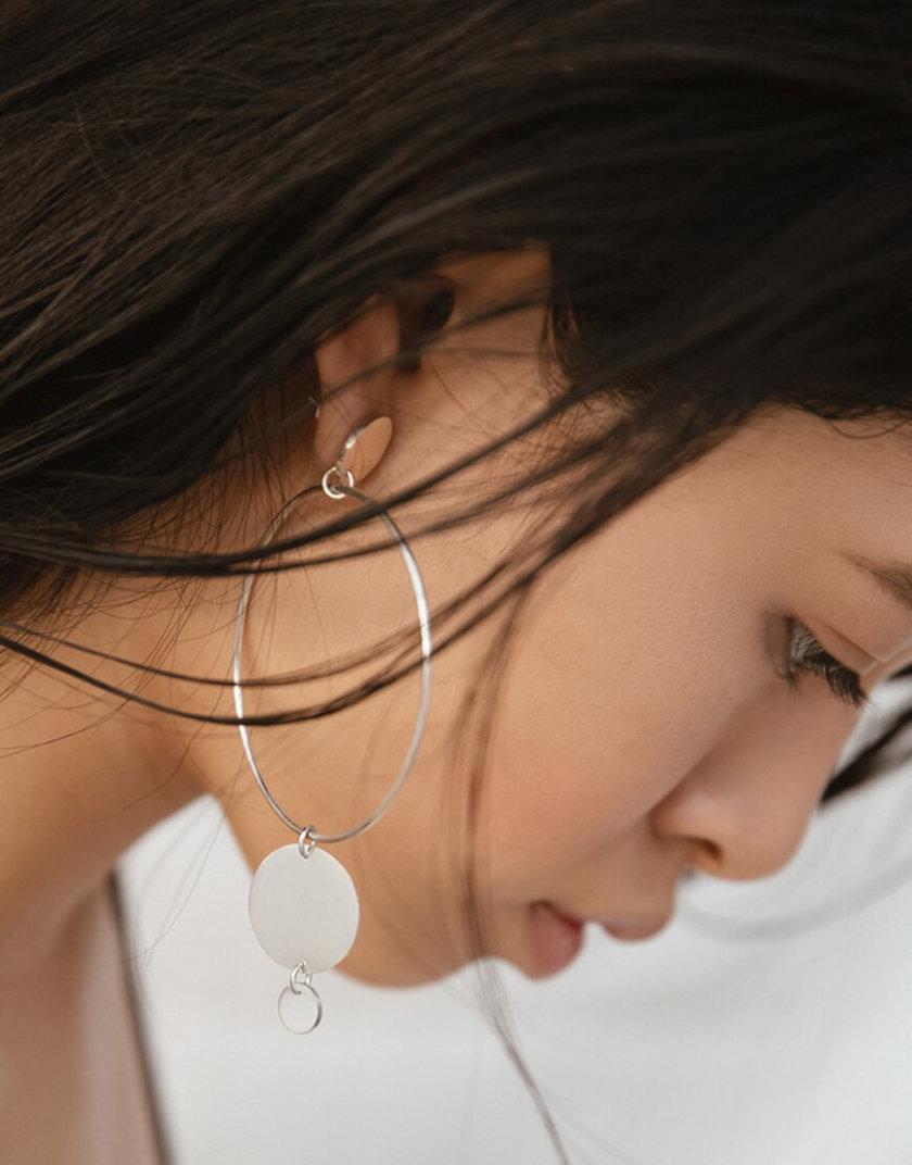 Ассиметричные серьги-кольца из серебра LGV_dot006, фото 1 - в интернет магазине KAPSULA