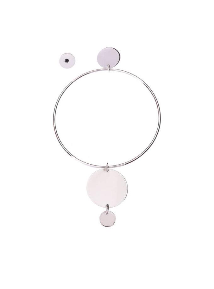 Ассиметричные серьги-кольца из серебра LGV_dot006, фото 1 - в интеренет магазине KAPSULA