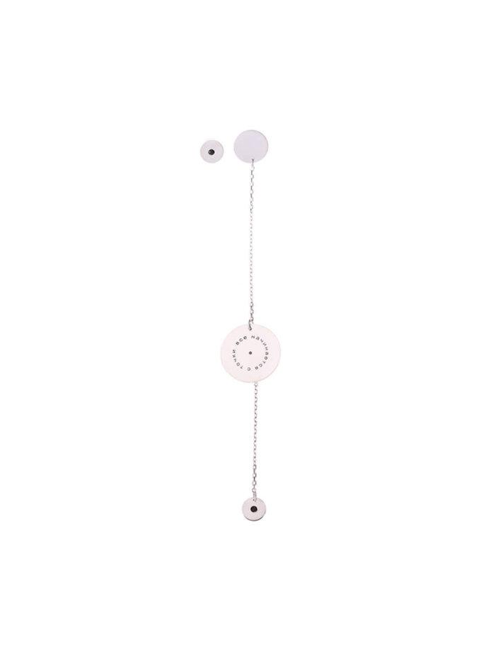 Ассиметричные серьги-цепочка из серебра LGV_dot007, фото 1 - в интеренет магазине KAPSULA
