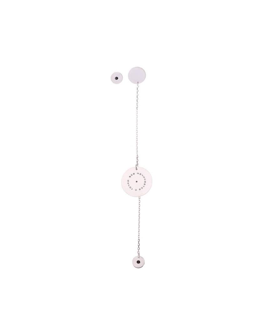 Ассиметричные серьги-цепочка из серебра LGV_dot007, фото 1 - в интернет магазине KAPSULA