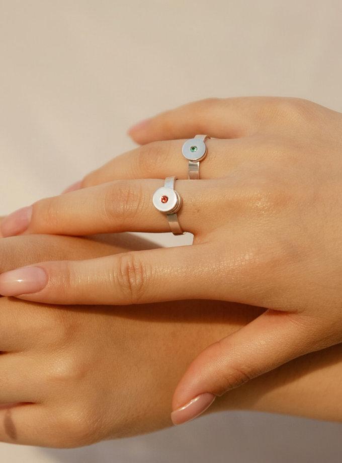 Кольцо двухъярусное из серебра с изумрудом LGV_dot012, фото 1 - в интеренет магазине KAPSULA