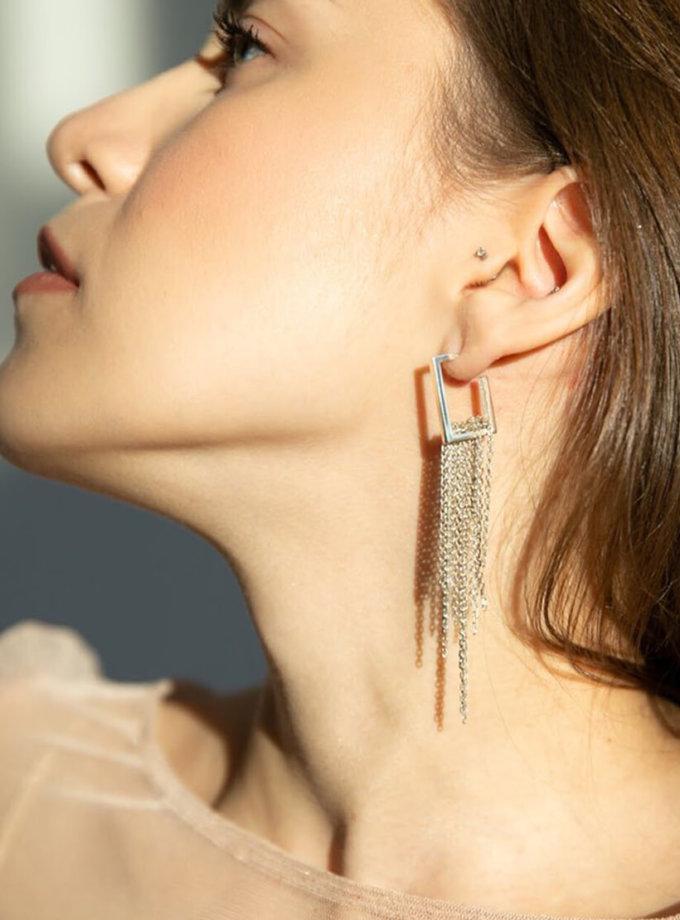 Серебряные серьги c цепочками LGV_earings001, фото 1 - в интернет магазине KAPSULA