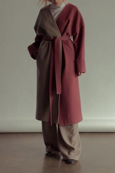 Двухцветное пальто из шерсти NM_355-2, фото 1 - в интеренет магазине KAPSULA