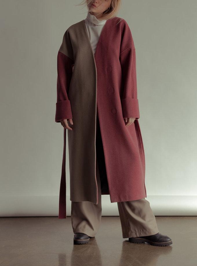 Двухцветное пальто из шерсти NM_355-2, фото 1 - в интернет магазине KAPSULA