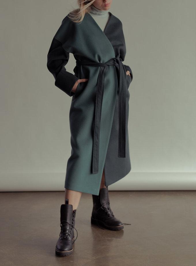 Двухцветное пальто из шерсти NM_355, фото 1 - в интернет магазине KAPSULA