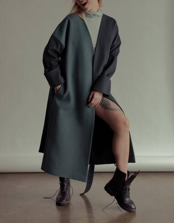 Двухцветное пальто из шерсти NM_355, фото 2 - в интеренет магазине KAPSULA